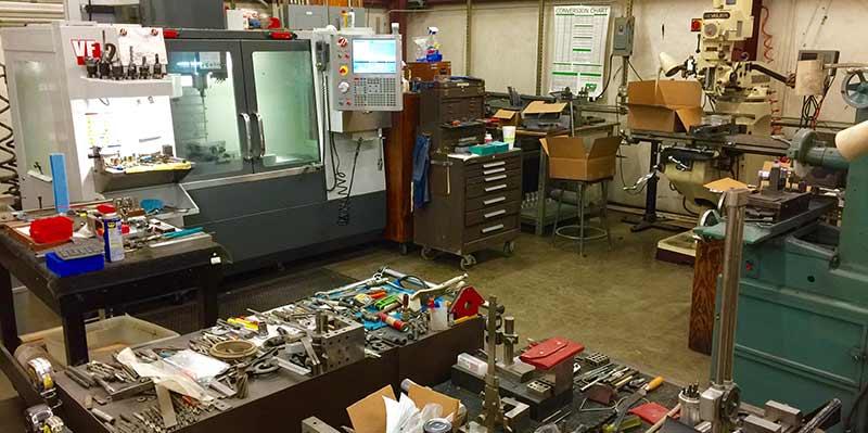 wide view of machine workshop where boneware utensils are made