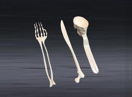 prototype mold of set of bone-style utensil