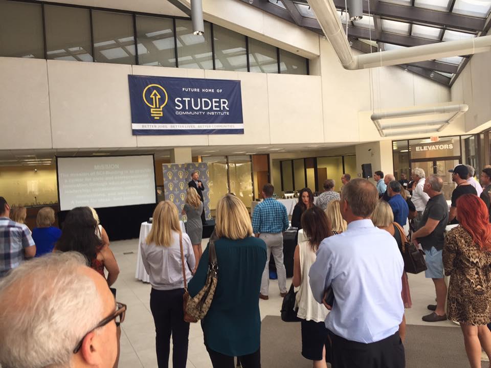 Quint Studer speaking at the former Suntrust Building on Garden Street in downtown Pensacola. Credit: Rachael Gillette.