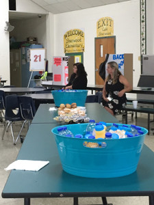 Breakfast and drinks are part of Coffee with the Principal at Sherwood Elementary School. Credit: Shannon Nickinson.