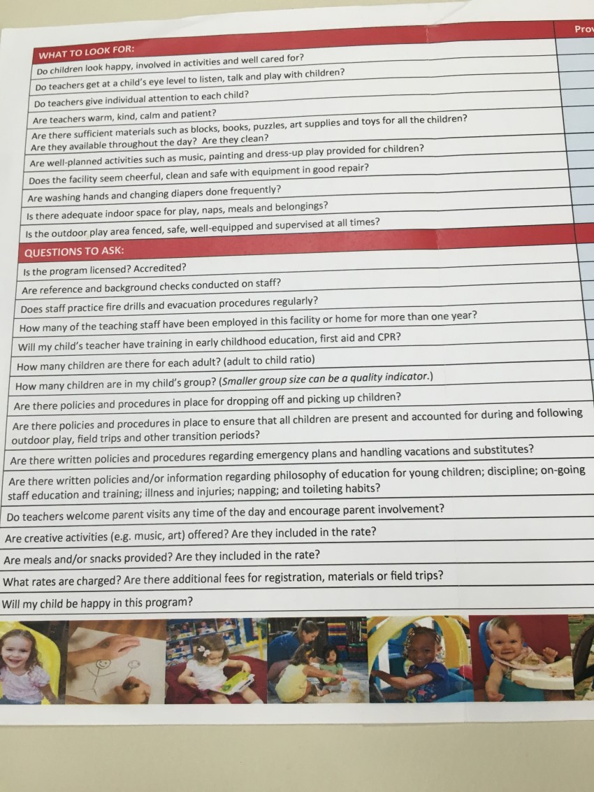 The Florida Office of Early Learning's childcare center choice checklist.