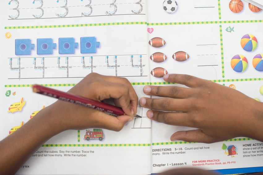 Studer Community InstituteA student works on numbers in La'Tris Sykes kindergarten class at Lincoln Park Primary School Thursday, Sept. 23, 2015.(Michael Spooneybarger/ Studer Community Institute)