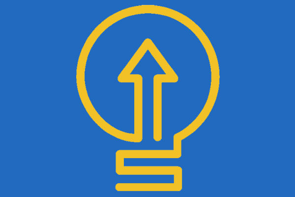 Studer Institute lightbulb logo blue background