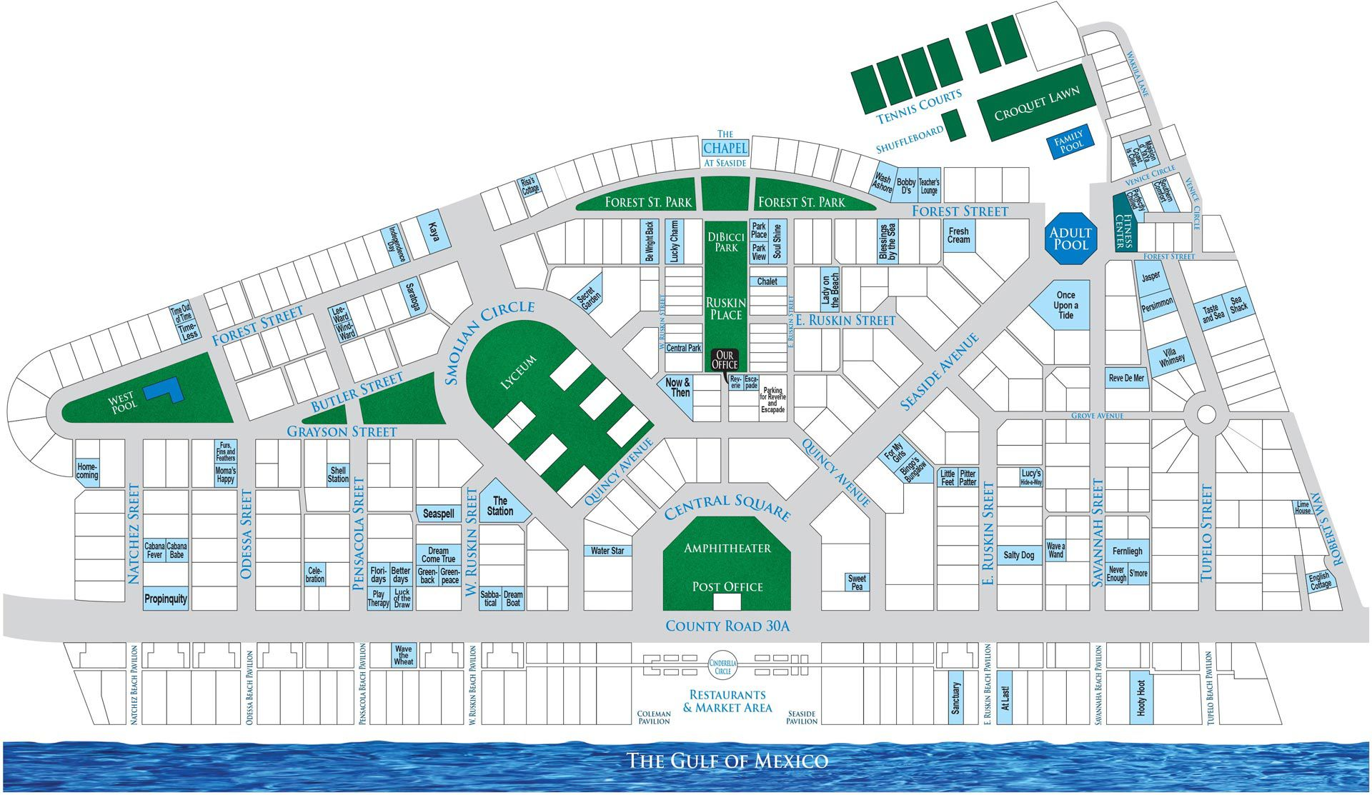 Homeowner's Collection Seaside Florida Cottage Map
