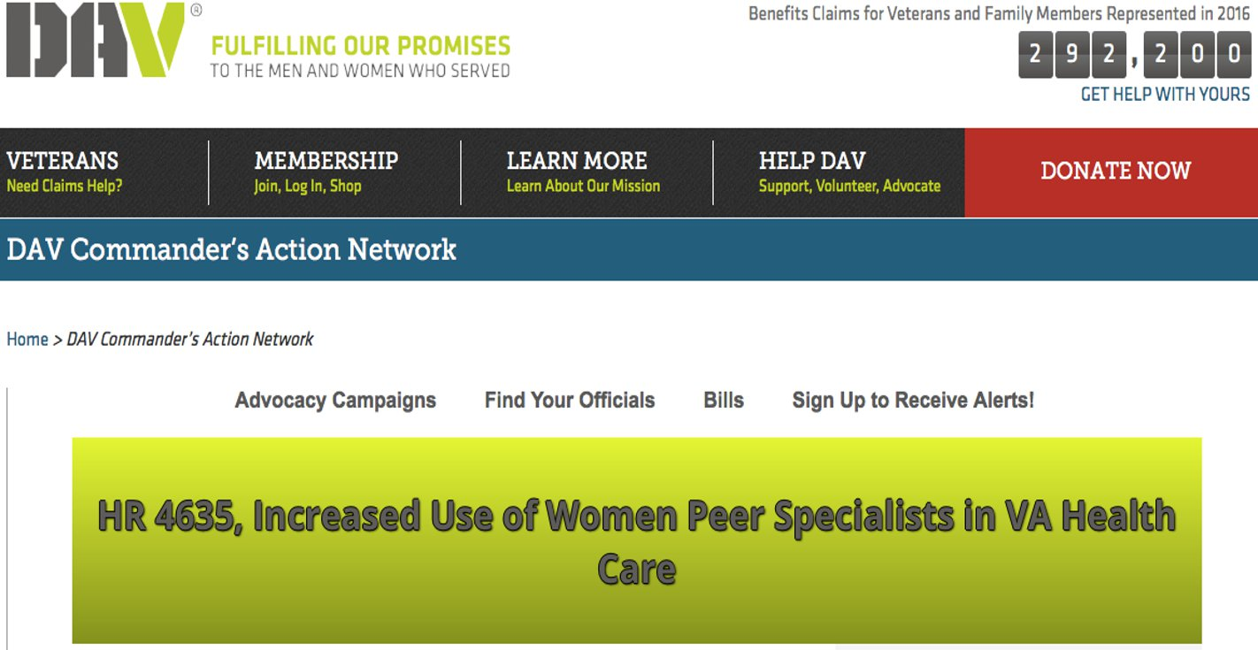 HR 4635, Increased Use of Women Peer Specialists in VA