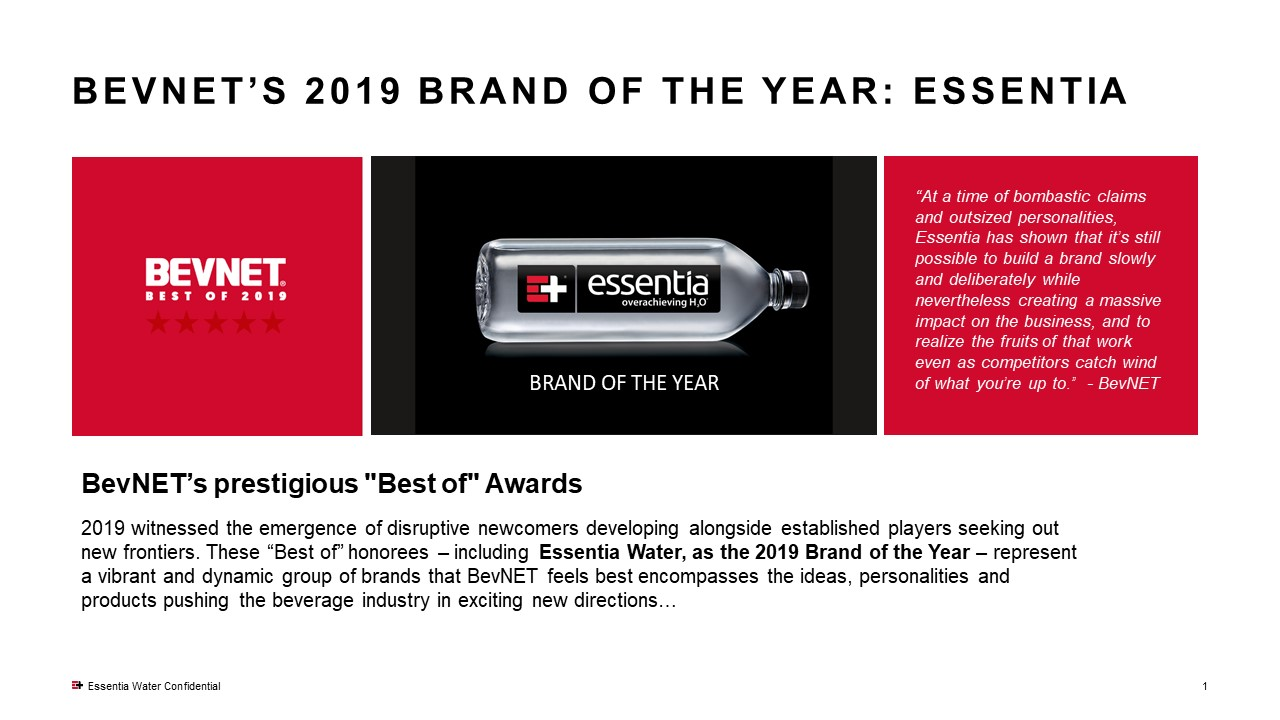 Essentia Water Named Brand of the Year