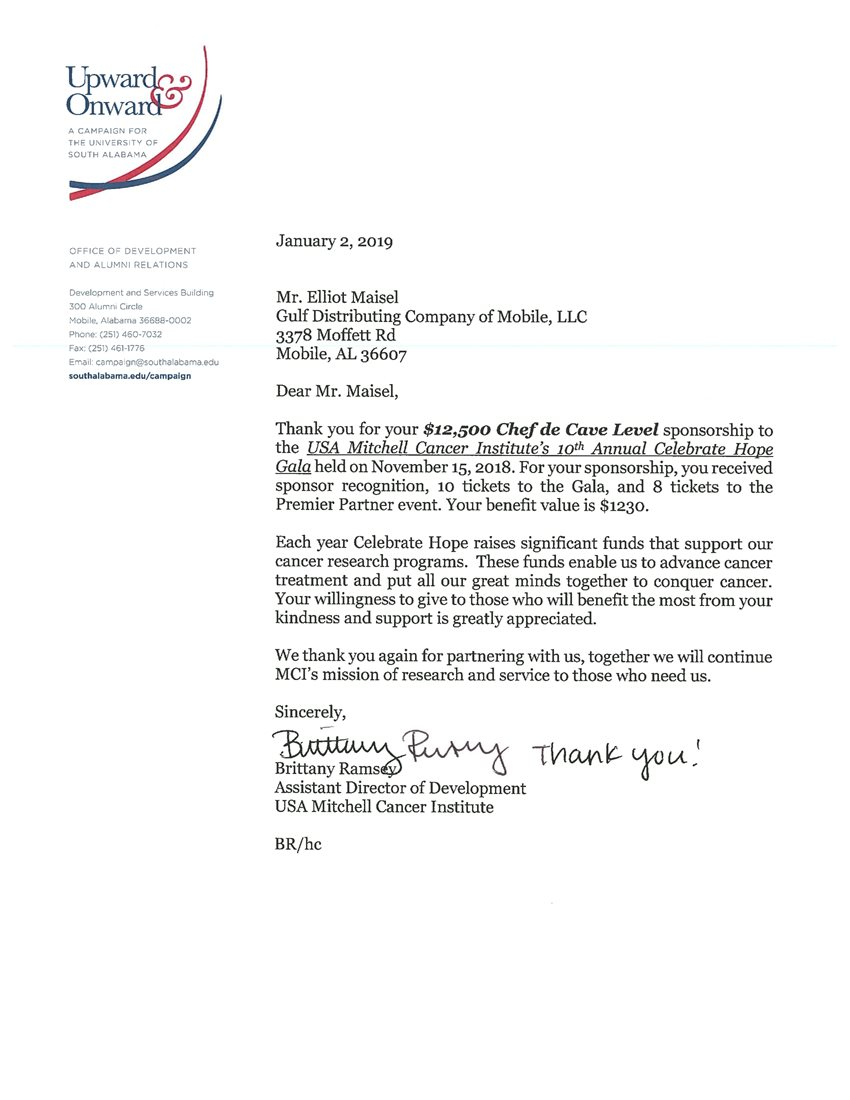 A Letter from USA Mitchell Cancer Institute