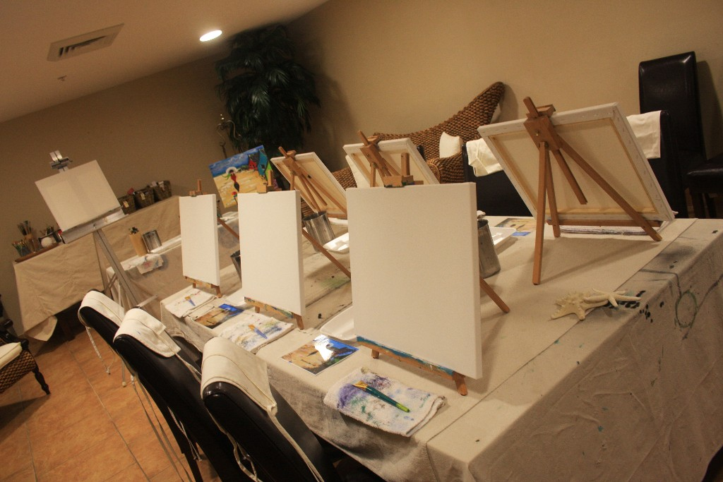 Blank Canvases on long table