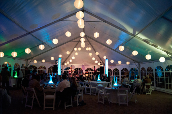 Dinner service in covered tent