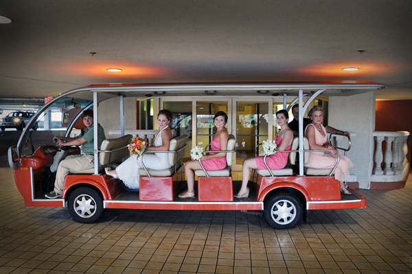 Bridal party on Golfcart