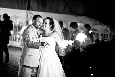 Bride & Groom with Sparklers