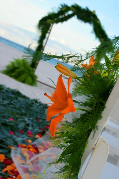 Beach Wedding Floral Display