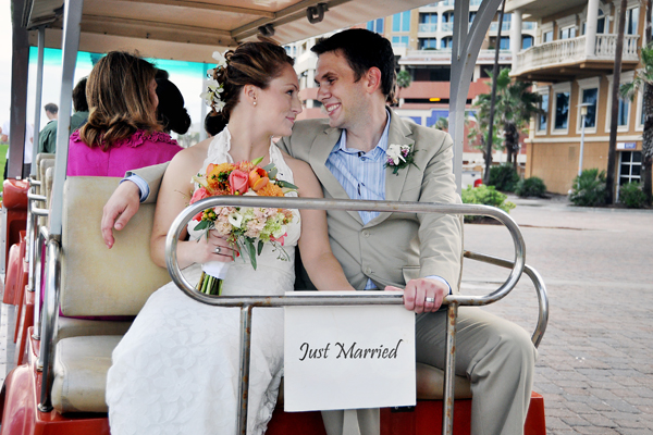 Bride & Groom on Golf Cart