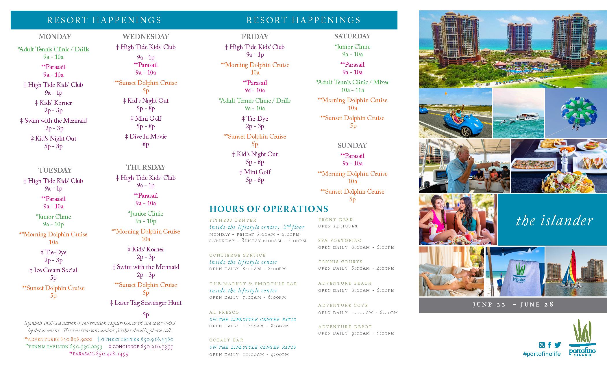 Weekly Resort Activities Schedule