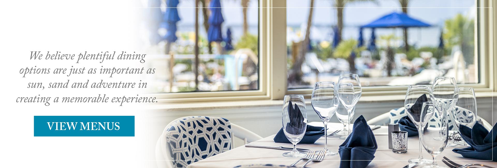 Dining options at Portofino Island Resort