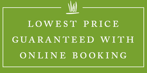 green block with text saying Lowest Prices Guaranteed with online booking