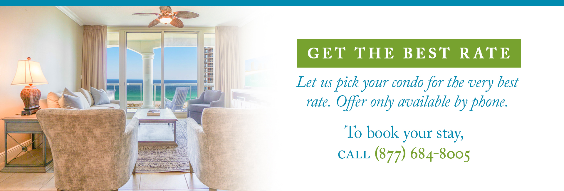 Condo living room with beach view - best rate guarantee flyer call for best offer - (877) 684-8005