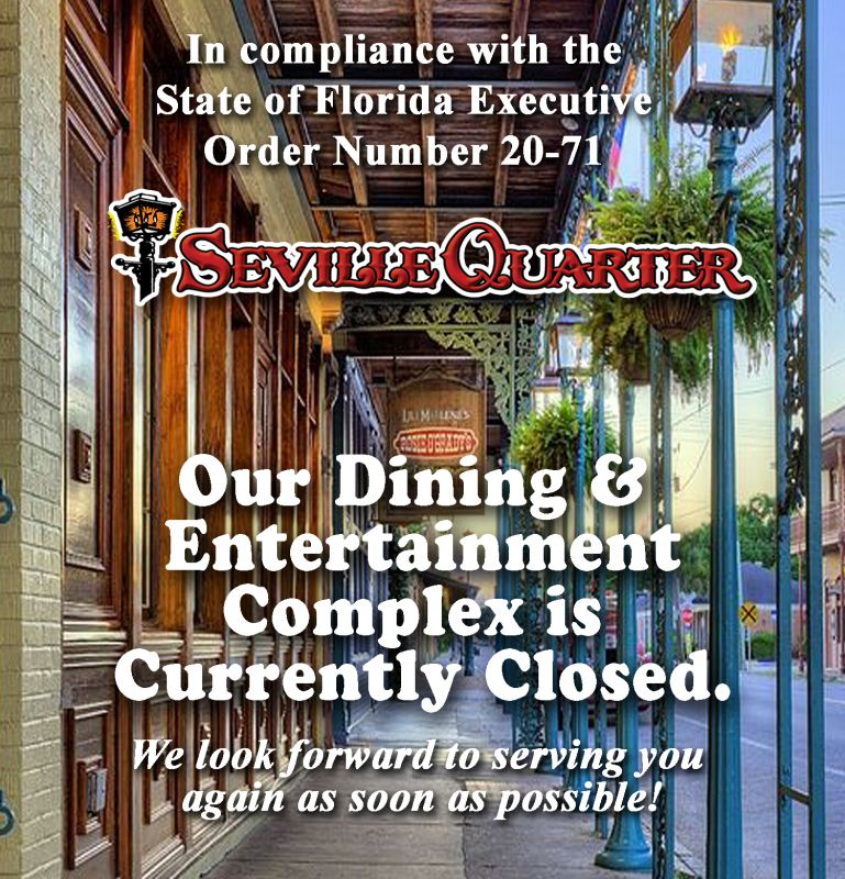 In compliance with the State of Florida Executive Order Number 20-71 our dining & entertainment Complex is currently closed.