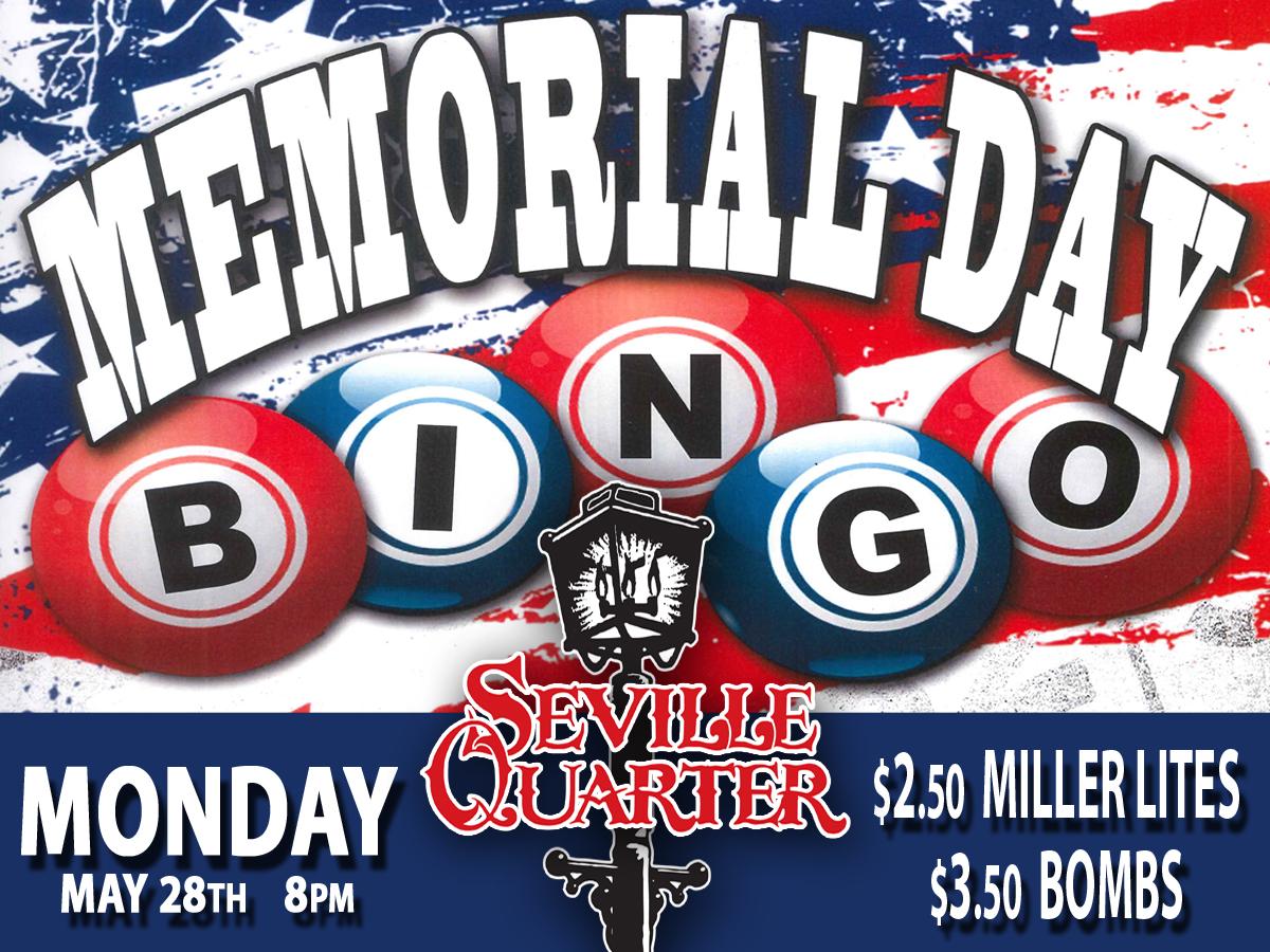 Seville Quarter Event bar bingo flyer