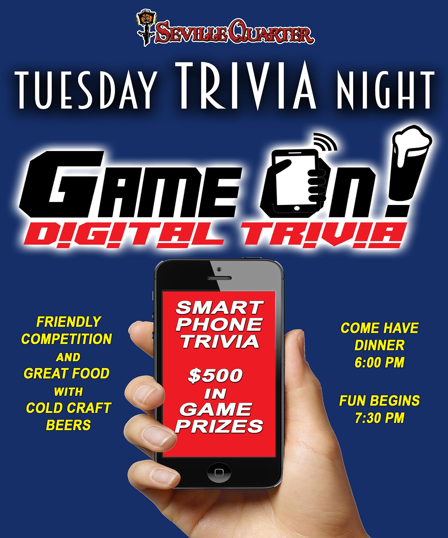 Tuesday digital trivia night