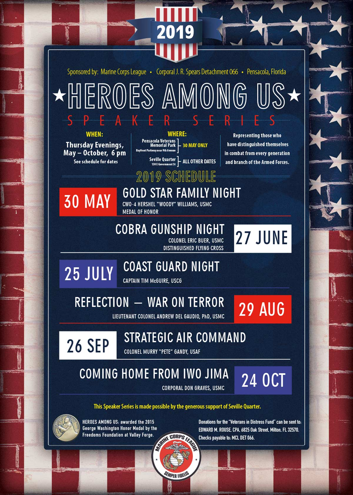 Seville Quarter News The Marine Corps League's 7th Annual Heroes Among Us Speaker Series