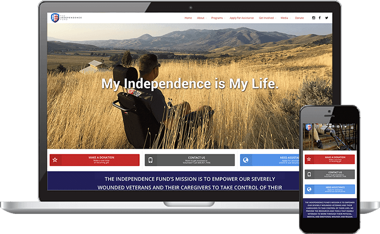Mockup in Responsive mob The Independence Fund