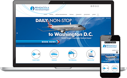 Mockup in Responsive mob Pensacola <br>International Airport