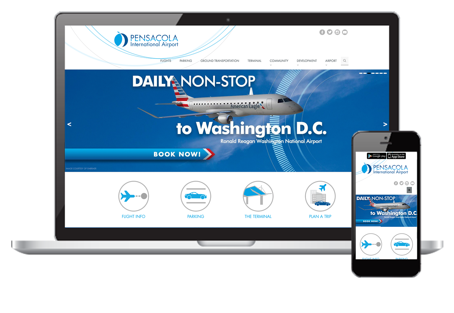 Mockup in Responsive Pensacola <br>International Airport