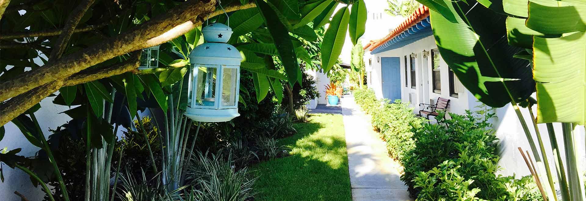Walkway behind Oasis Hotel in Fort Lauderdale, Florida.