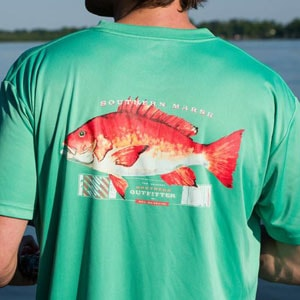 Green tshirt printed with red fish