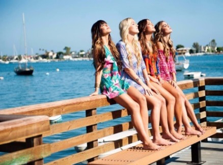 girls sitting on railing