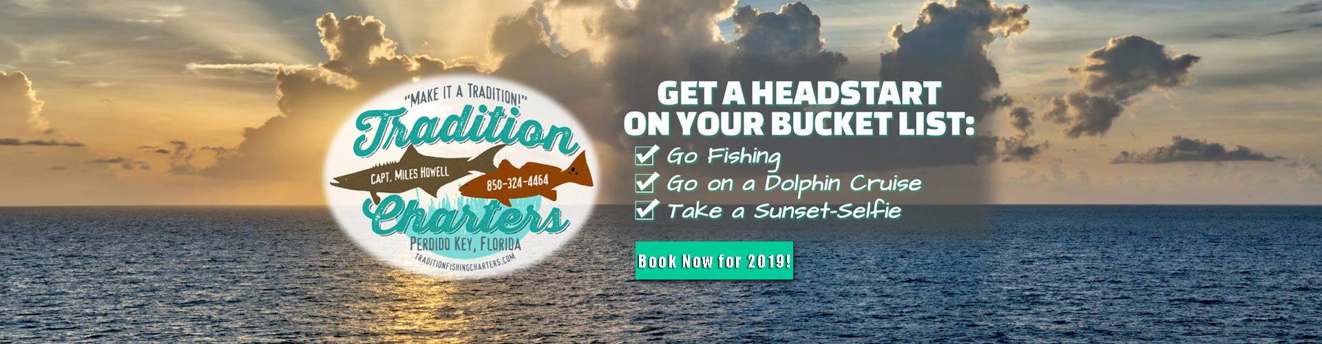 Get a head-start on your bucket list: Go fishing; Go on a dolphin cruise; Take a sunset-selfie; Click here to Book Now!