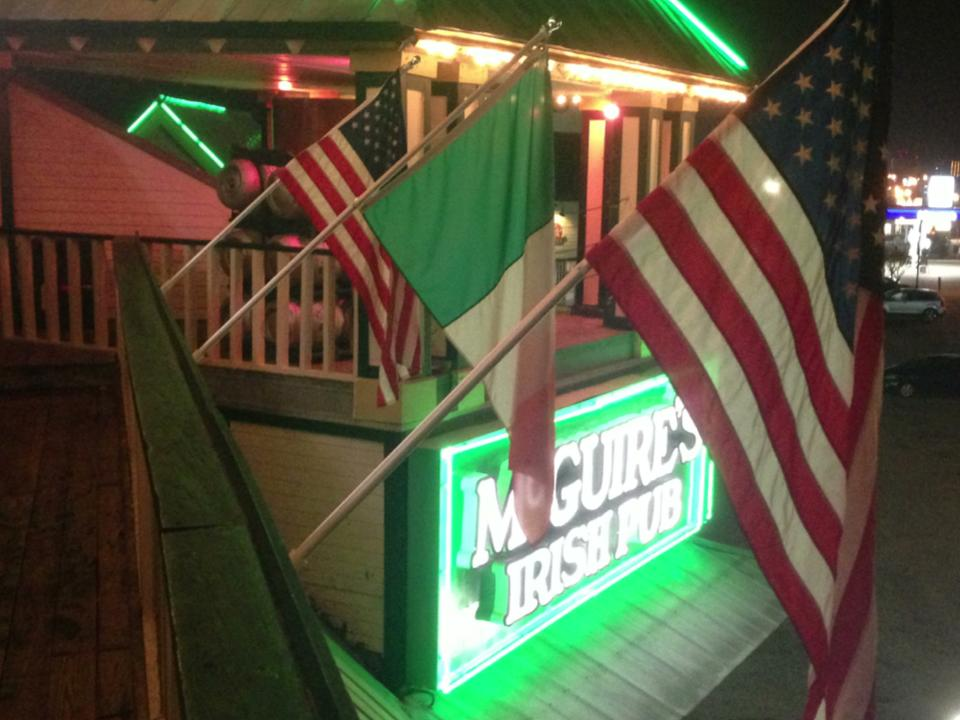 Flags hanging off of Destin Deck