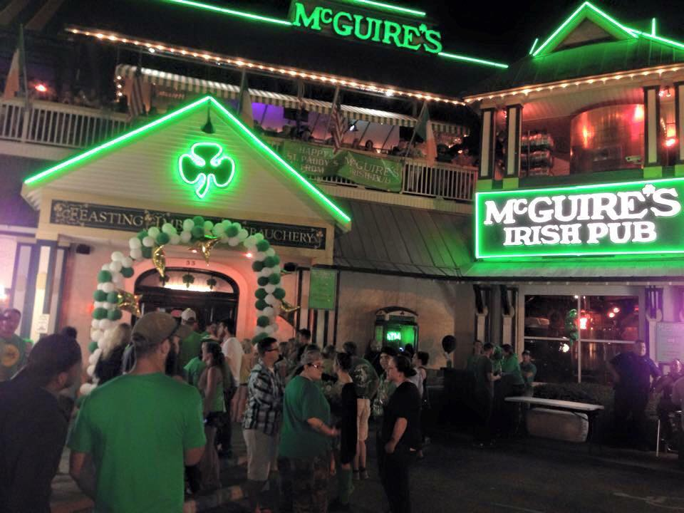 Nighttime crowd at McGuires Destin