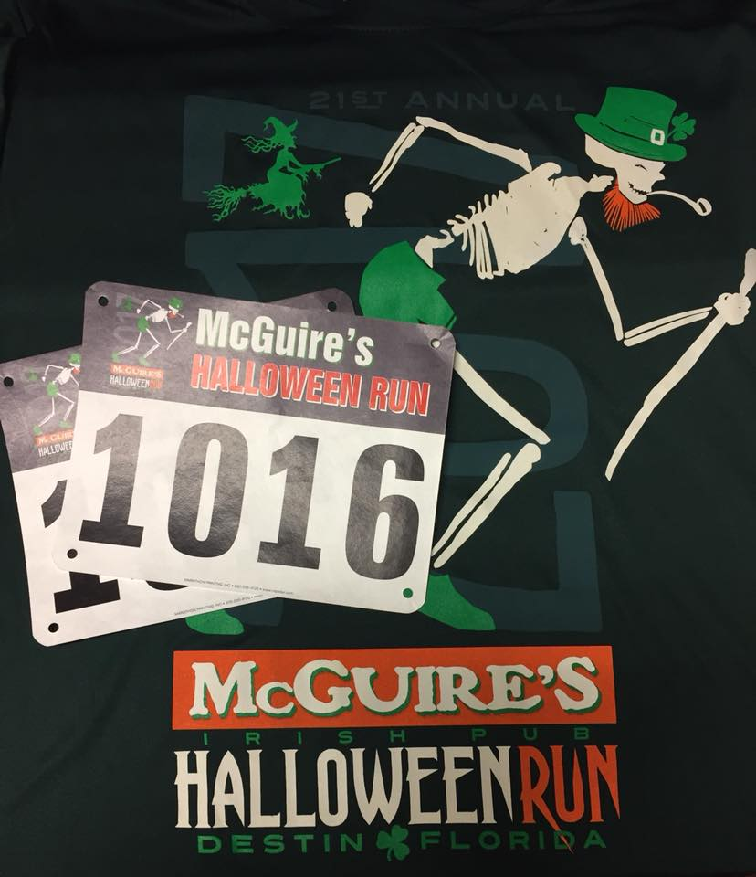 Destin Halloween Run shirt and runners number
