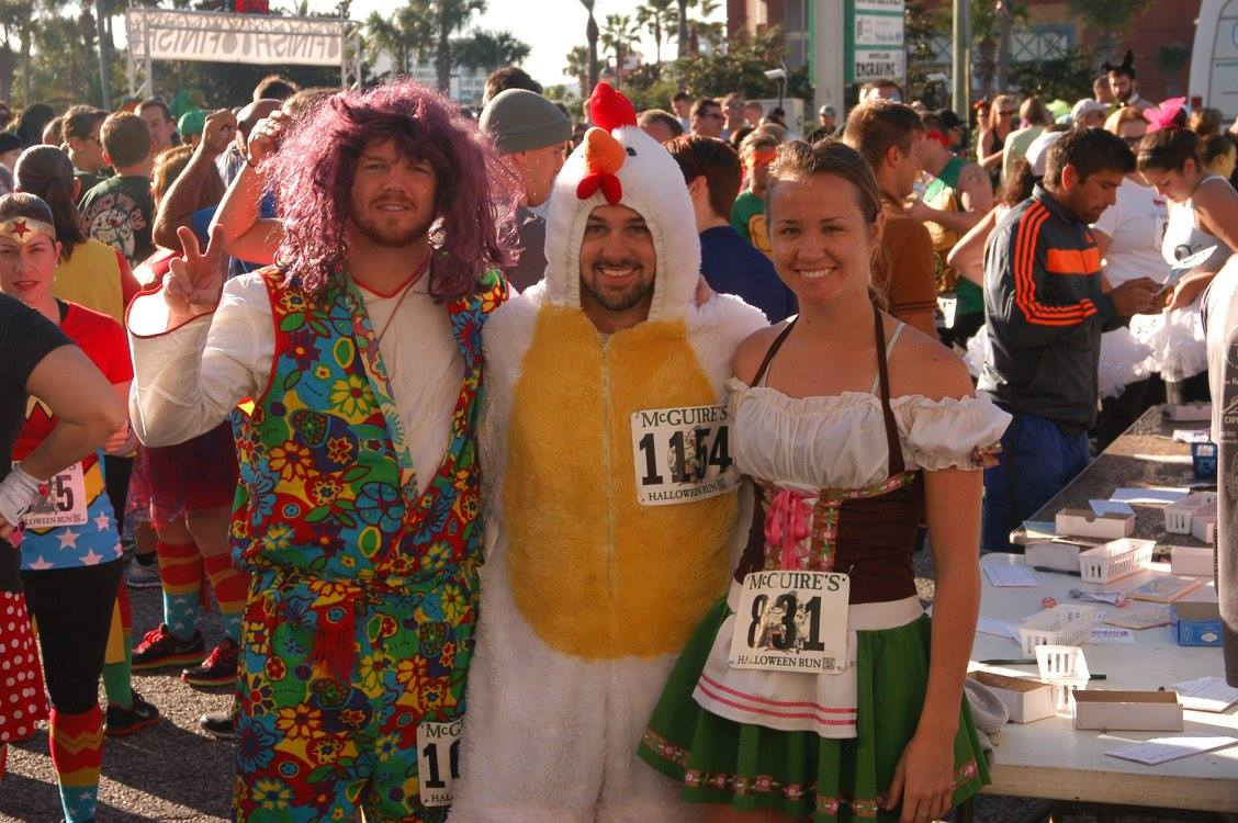 Runners dressed in Halloween costumes at the Destin Halloween run