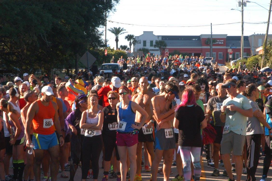 Runners getting ready to start at the Destin Halloween Run