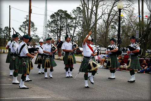 McGuire's Irish Pipe Band   steady walking forward in either rhythmic or route-step time