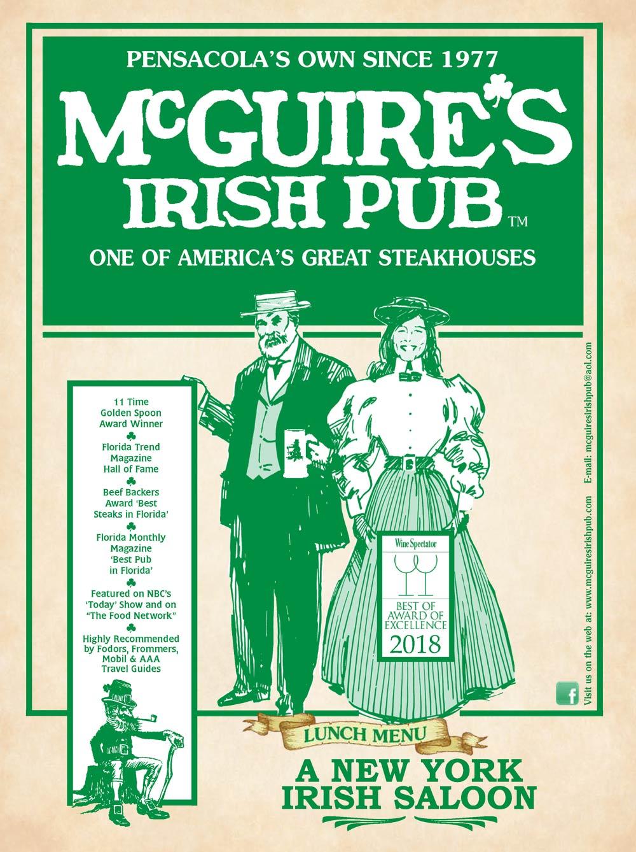 Menus | McGuire's Irish Pub