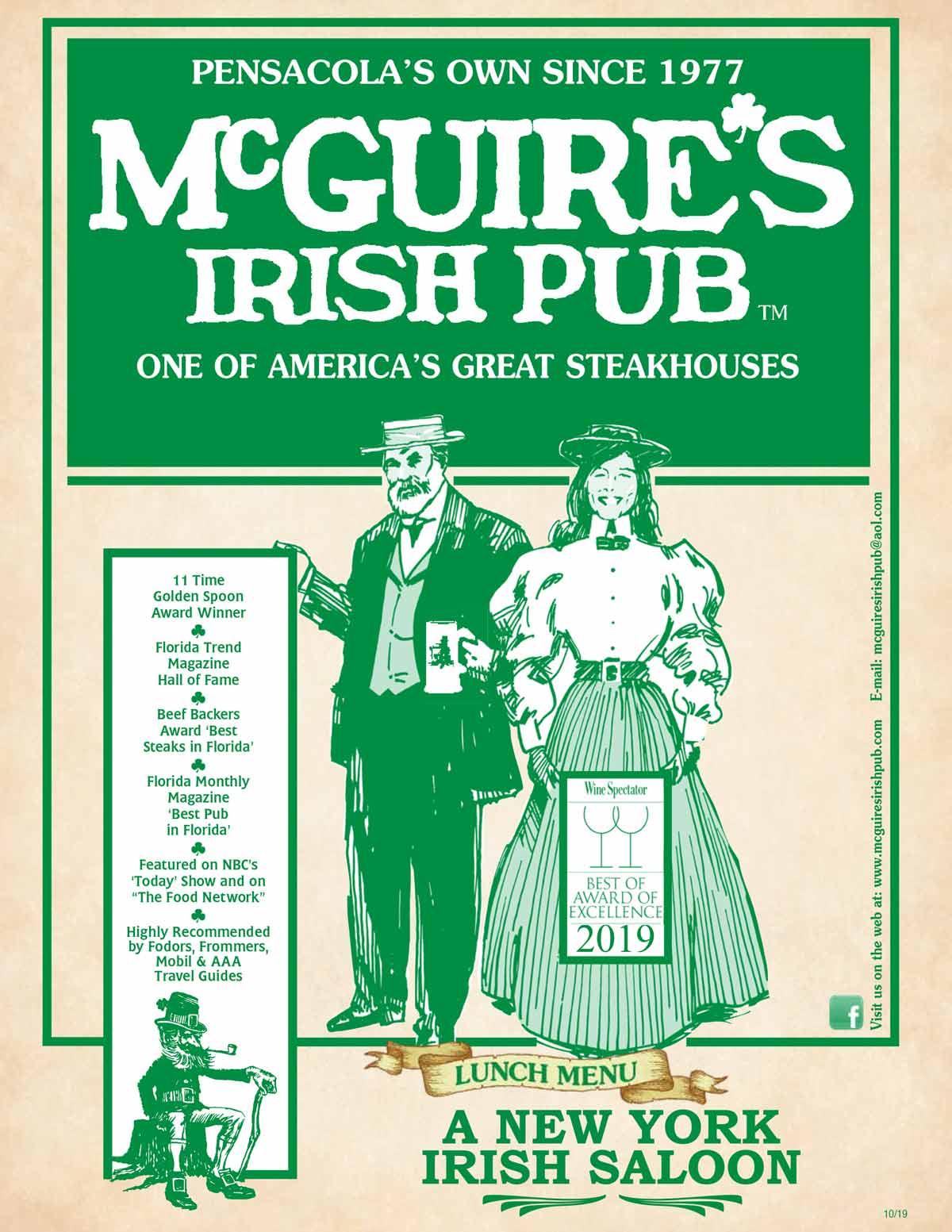Lunch Menu Mcguire S Irish Pub