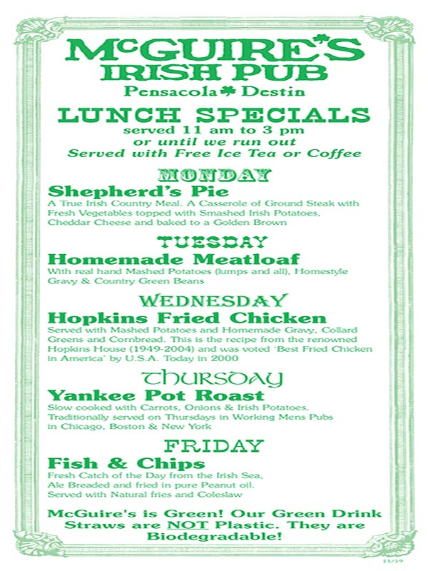Lunch Special menu cover