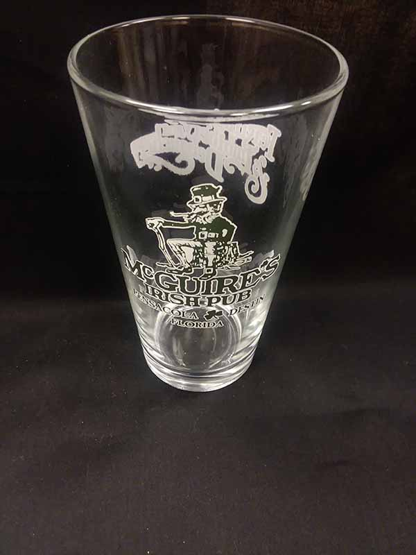 Green and White Pint Glass
