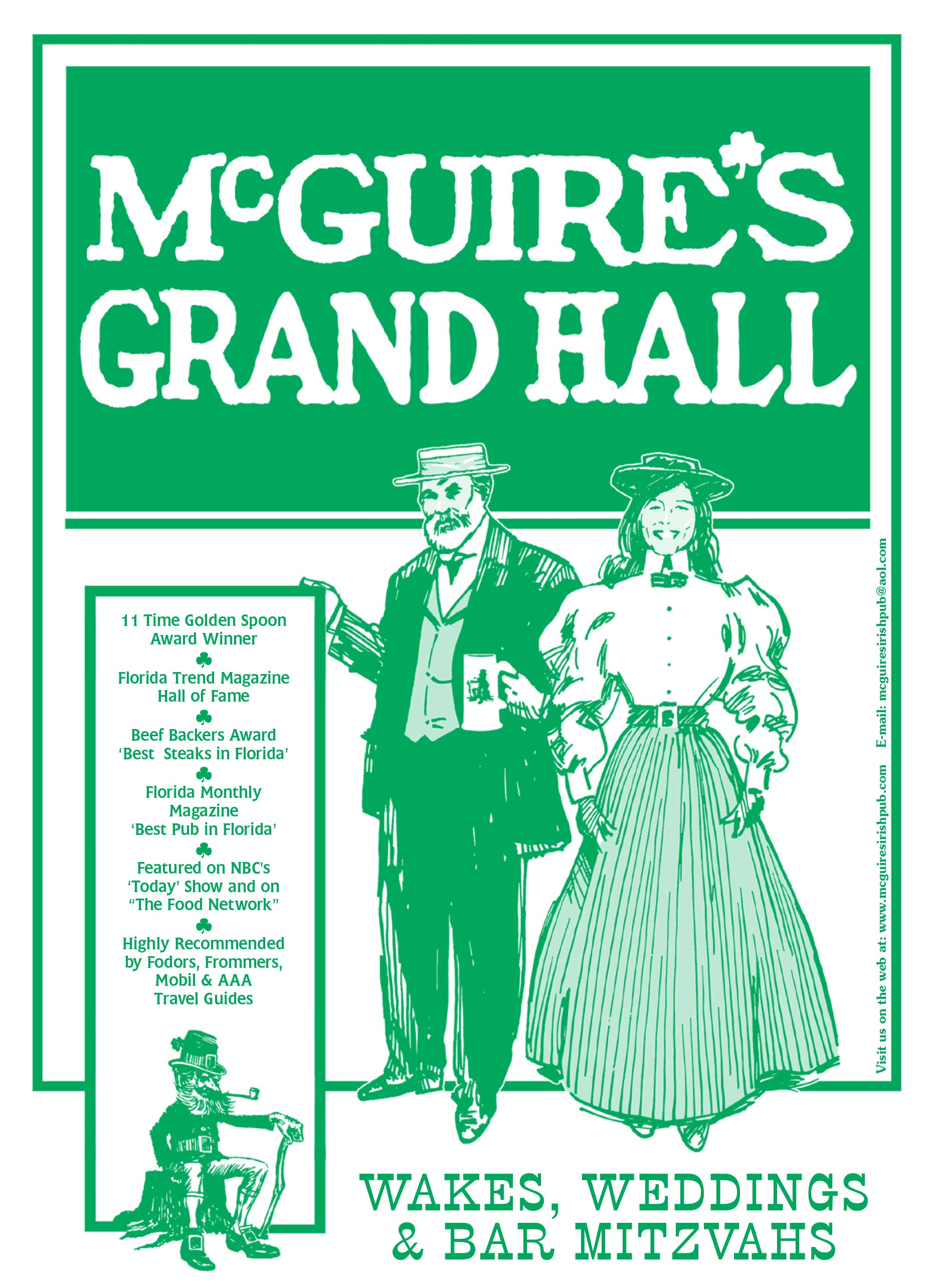 McGuire's Grand Hall Menu