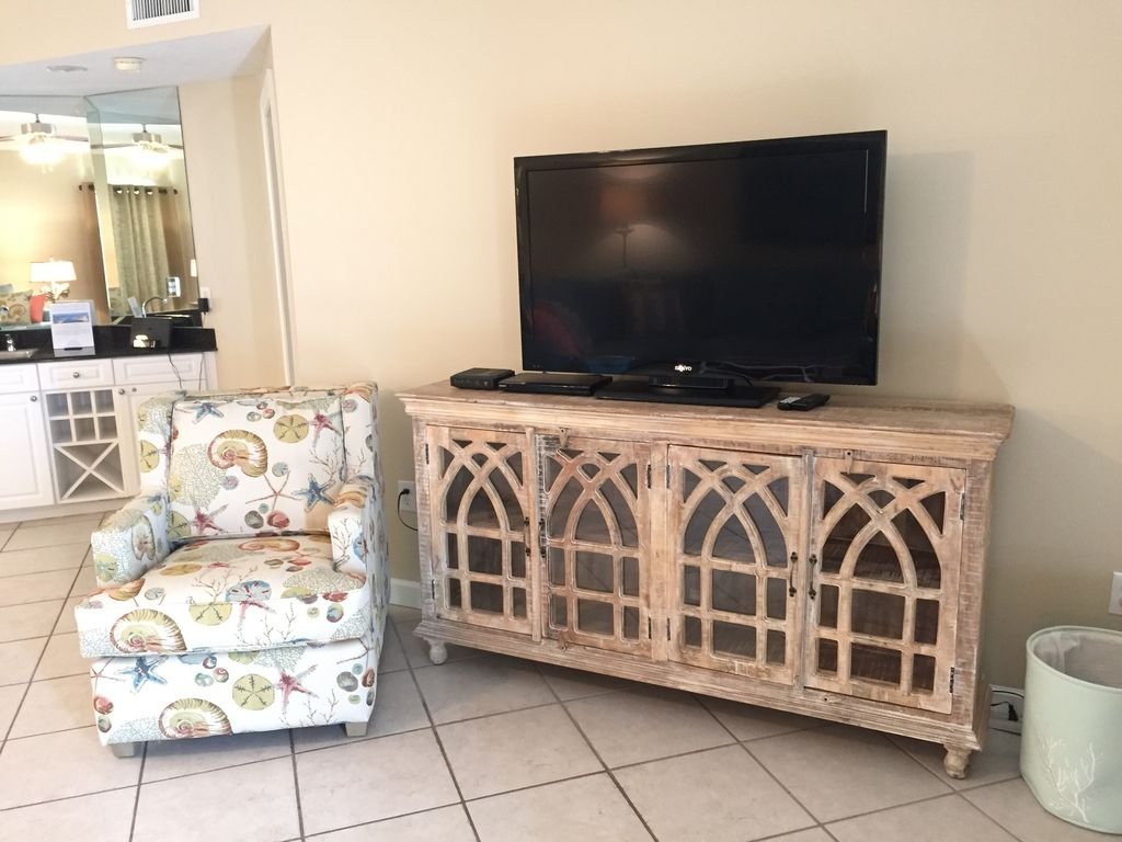 Living Room with 55 Inch HDTV and DVD