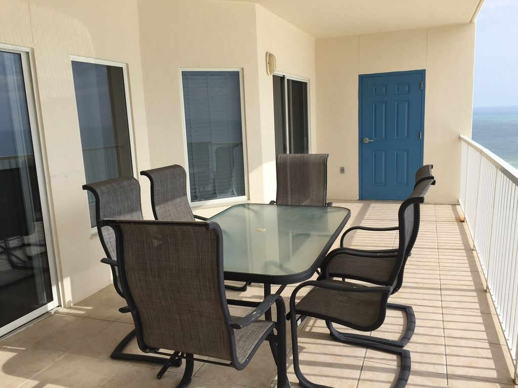 Spacious Gulf Front Balcony with doors to Living Room & Master Bedroom