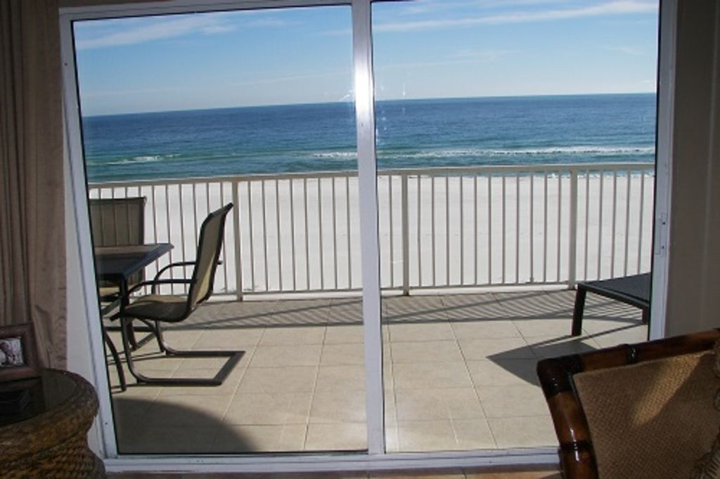 View of White Sandy Beach and Gulf of Mexico from Living Room