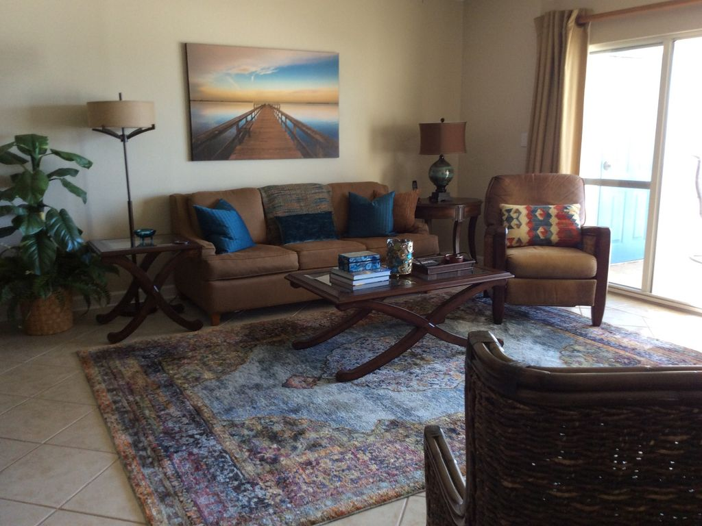 Spacious Living Room with Queen Sleeper Sofa - Opens to Gulf Front Balcony