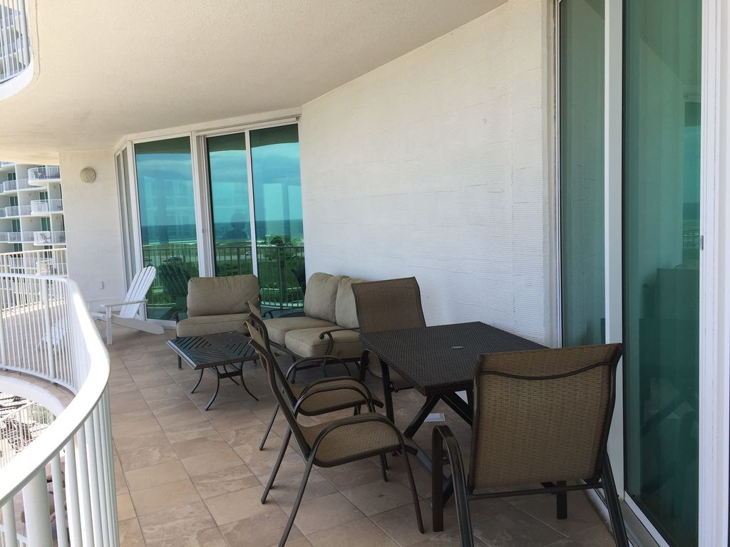 Balcony overlooking River Pool, New Table and Chairs