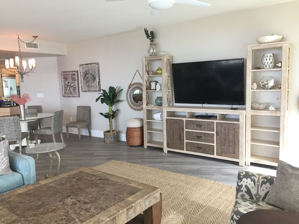 Caribe - view of Large TV with New floors