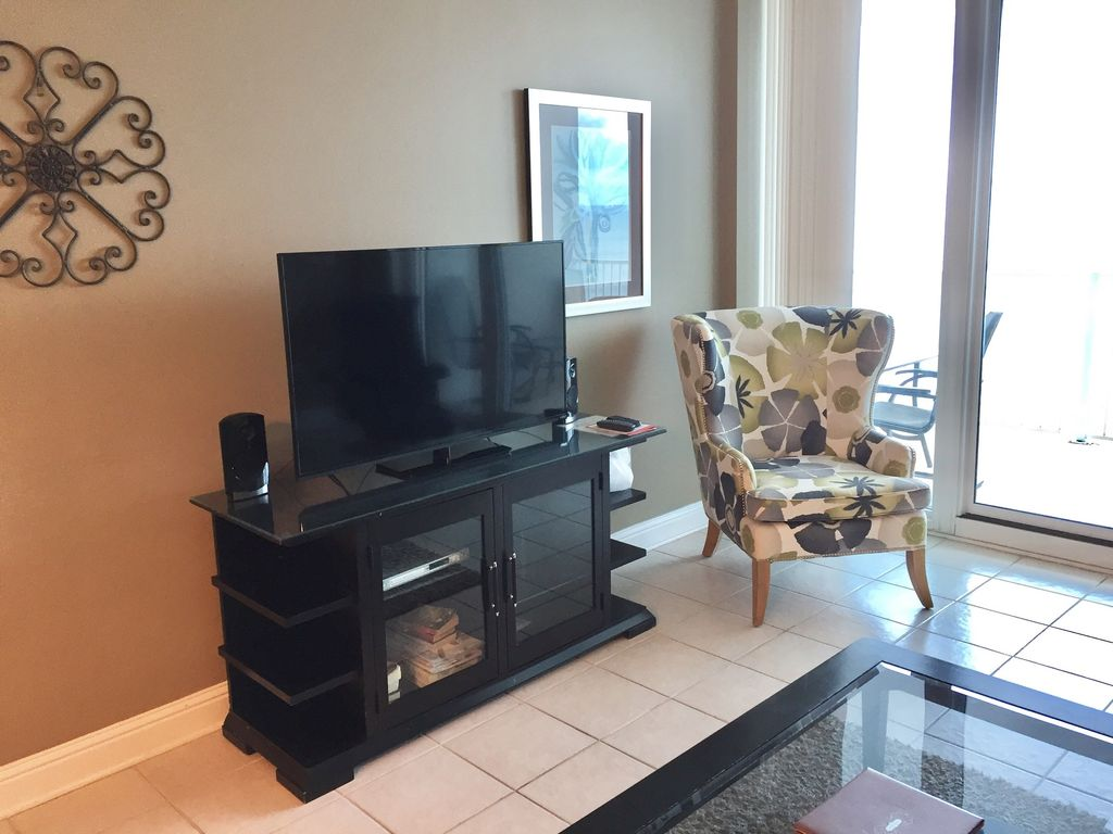 Living Room with 50 Inch TV and DVD and Stereo